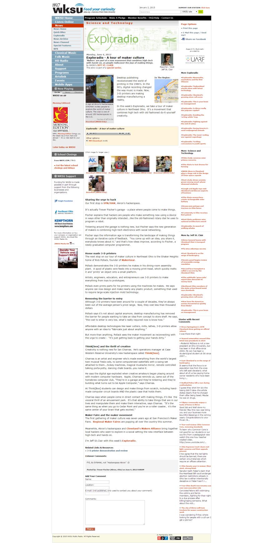 WKSU News Exploradio A tour of maker culture